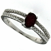 0.71ctw African Ruby and Diamond Ring in Sterling Silver