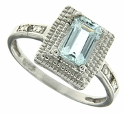 0.86ctw Aquamarine and Diamond Ring in Sterling Silver