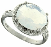 4.00 Opal and Diamond Ring in Sterling Silver