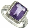 4.11ctw Amethyst and Diamonnd Ring in Sterling Silver