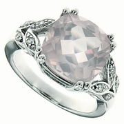 6.77ctw Rose Quartz Ring in Sterling Silver