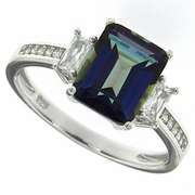 3.08ctw Mystic Iolite Blue Ring in Sterling Silver
