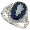 6.91ctw Mystic Iolite Blue Ring in Sterling Silver
