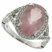 6.91ctw Rose Quartz Ring in Sterling Silver