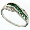 0.30ctw Emerald and Diamond Ring in Sterling Silver