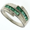 0.59ctw Emerald and Diamond Ring in Sterling Silver