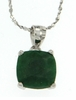 "3.80ctw Emerald Stud Pendant in Sterling Silver with 18"" Chain"