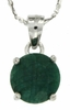 "3.50ctw Emerald Stud Pendant in Sterling Silver with 18"" Chain"
