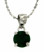 "1.40ctw Emerald Stud Pendant in Sterling Silver with 18"" Chain"