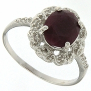 3.01ctw Ruby and Diamond Ring in Sterling Silver