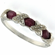 0.67ctw Ruby and Diamond Ring in Sterling Silver