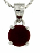 "1.40ctw Ruby Stud Pendant in Sterling Silver with 18"" Chain"