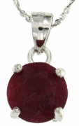 "3.50ctw Ruby Stud Pendant in Sterling Silver with 18"" Chain"