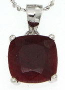 "3.80ctw Ruby Stud Pendant in Sterling Silver with 18"" Chain"