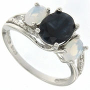 3.49ctw Sapphire and Opal and Diamond Ring in Sterling Silver