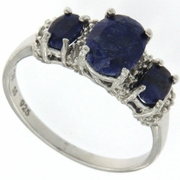 2.21ctw Sapphire and Diamond Ring in Sterling Silver