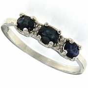 2.01ctw Sapphire and Diamond Ring in Sterling Silver