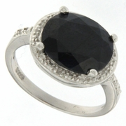 4.55ctw Sapphire and Diamond Ring in Sterling Silver
