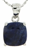 "3.80ctw Sapphire Stud Pendant in Sterling Silver with 18"" Chain"