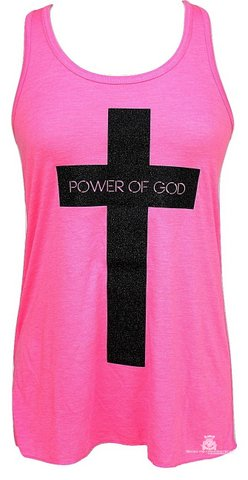 1 Corinthians 1:18 Power of God Bella Hot Pink Flowy Racerback Tank Top