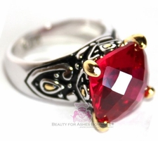 12mm Throne Room Cushion Cut Ruby Red Cz Two Tone Ring
