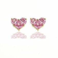 13MM Gold Plated Pink Cz Heart Earrings