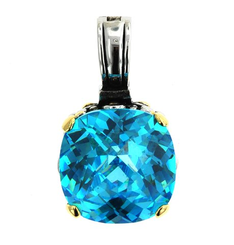 15mm Aqua Blue Cubic Zirconia Two Tone Throne Room Pendant