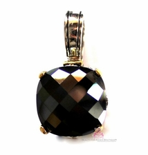 15mm Black Cubic Zirconia Checker Cut Two Tone Throne Room Pendant