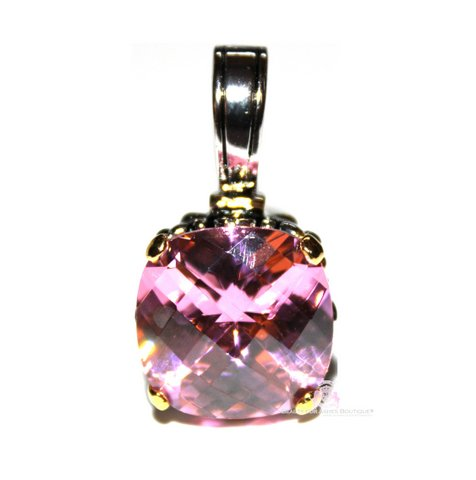 15mm Pink Checker Cut Cubic Zirconia Two Tone Throne Room Pendant