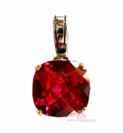 15mm Ruby Red Checker Cut Two Tone Throne Room Pendant