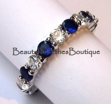 3MM SAPPHIRE AND CLEAR CZ ETERNITY BAND RING