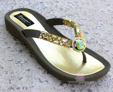 AB JEWELED GOLD TAUPE BEADED THONG  BLING SANDALS Size 7