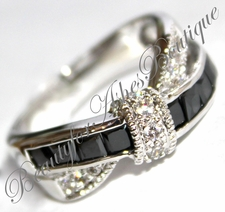 AFTER MIDNIGHT BLACK WHITE TIE CLEAR CZ TUXEDO CZ CUBIC ZIRCONIA COCKT