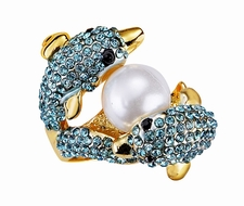 AMAZING ATLANTIS AQUA BLUE CRYSTALS PEARL DOLPHIN RING