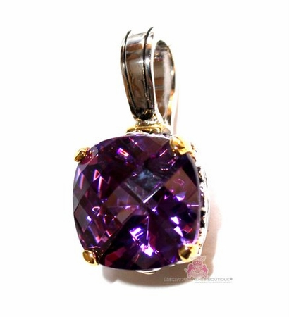 Amethyst Checker Cut Two Tone Throne Room Pendant
