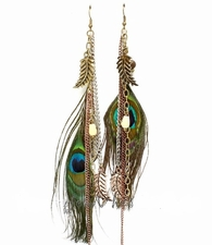 """Antique Tone 6.5"""" Eyes to See Peacock Feather Earrings"""