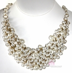 BEAUTY FOR ASHES CHUNKY BIB CREME PEARL NECKLACE