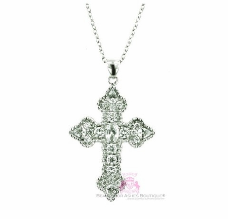 Sterling Silver 925 Beauty for Ashes® Penelope Old World Cz Cross Necklace