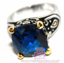 Throne Room Sapphire Blue Cz Checker Cut Two Tone Ring