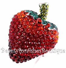 BEAUTY FOR ASHES STRAWBERRY FRUIT RUBY PAVE CZ RING