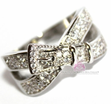 Beauty for Ashes Belt Buckle of Truth Clear Cz Criss Cross X Ring