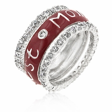 BEST MOM ENAMEL ETERNITY BAND CZ RING STERLING SILVER