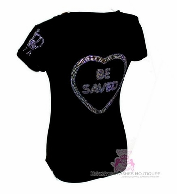 BFA Choose Jesus Be Saved Rhinestone Bling Evangelical T Shirt