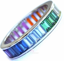 Sterling Silver CZ Gods Promise Rainbow Eternity Band Ring