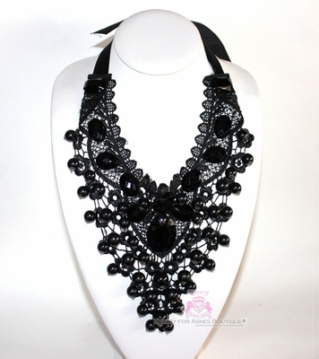 BFA Glam Bib Black Lace Dressy Prom Victorian Necklace