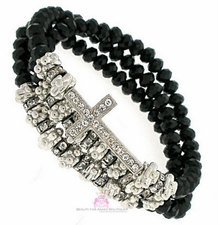 Black Beaded Wrap Layered Silver Crystal Cross Stretch Bracelet
