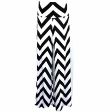 Black White Chevron Zig Zag Palazzo Wide Leg Pants