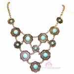 Cabo Turquoise Flowered Edge Medallion Bib Silver Necklace