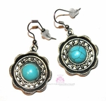 Cabo Turquoise Medallions Flowered Edge Silver Earrings
