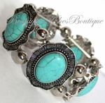 Cabo Turquoise Stone Flowered Edge Silver Stretch Bracelet